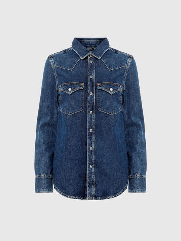 Western shirt in stonewashed denim