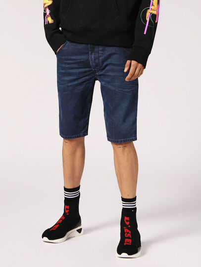 Diesel - KROOSHORT JOGGJEANS, Dark Blue - Shorts - Image 4