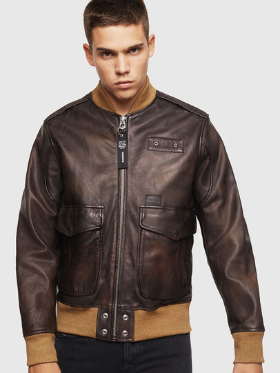 Diesel - L-OIUKI, Brown - Leather jackets - Image 1