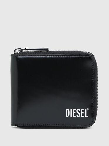 Zip-around wallet in high-shine leather