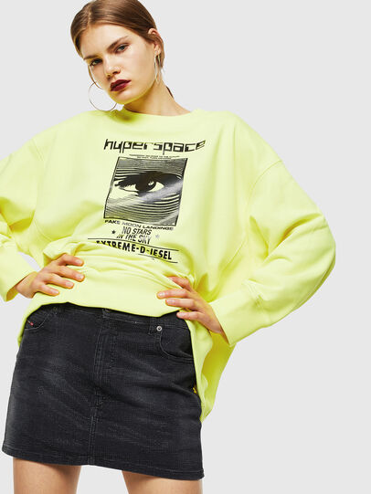 Diesel - F-AKUA, Yellow Fluo - Sweatshirts - Image 4