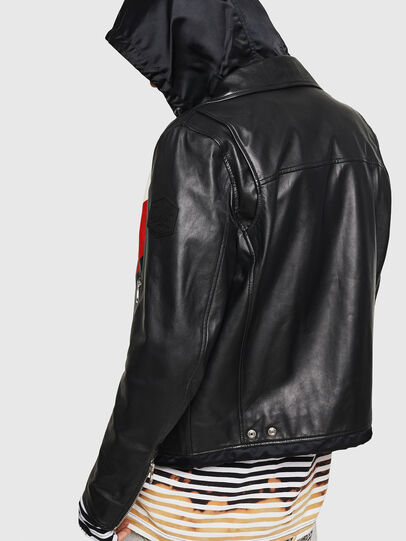 Diesel - L-SOLOVE, Black/Red - Leather jackets - Image 2