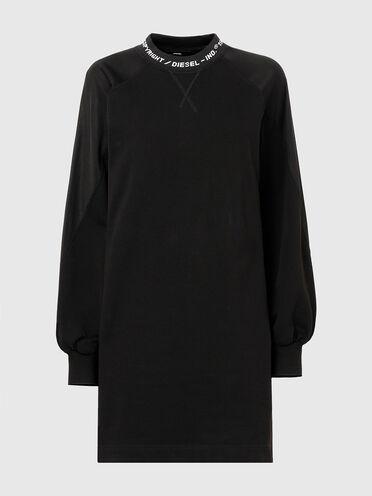 Sweater dress with logo-jacquard collar