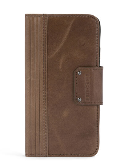 Diesel - BROWN LINED LEATHER IPHONE 8/7 FOLIO, Brown - Flip covers - Image 1