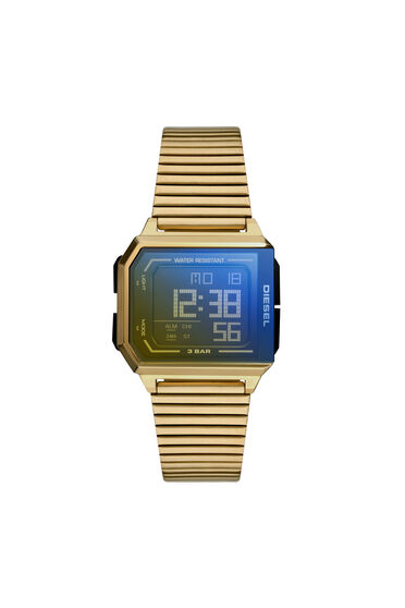 Chopped digital gold-tone stainless steel watch