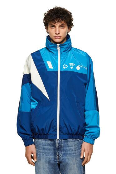 Color-block jacket with Detox print