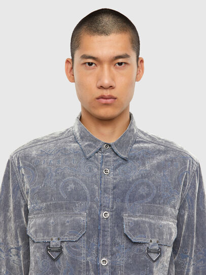 Diesel - D-RONNY, Grey - Denim Shirts - Image 4