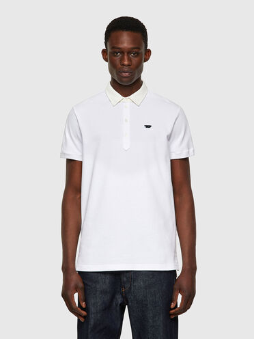 Polo shirt with denim collar