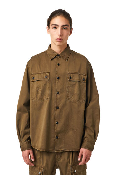 Garment-dyed shirt in cotton twill