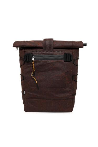 Roll-top backpack in waxed denim