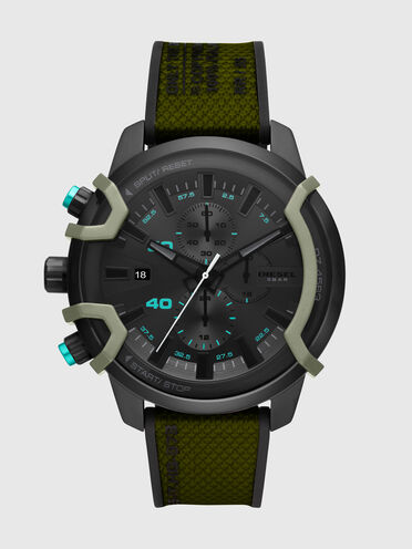 Griffed chronograph green canvas watch