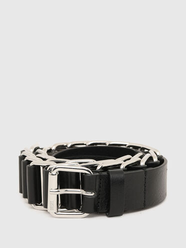 Interwoven chain and leather belt
