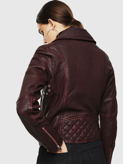 Diesel - L-YLE, Burgundy - Leather jackets - Image 2