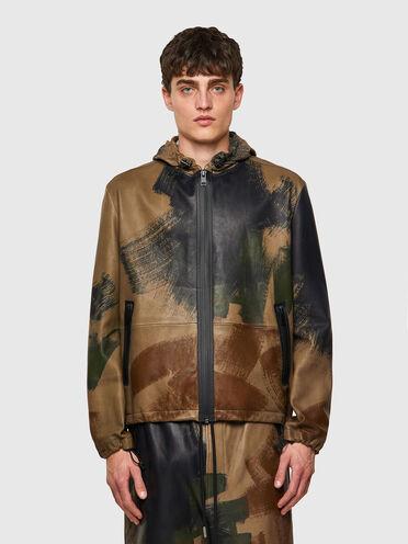Jacket in printed sheepskin
