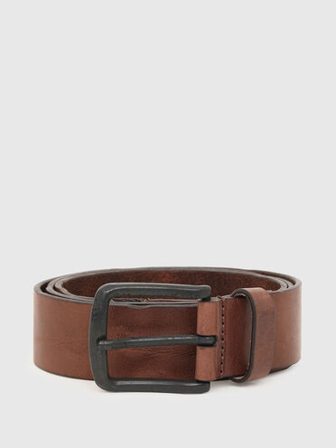 Treated leather belt with diesel logo