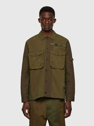 Mix material overshirt with velcro patch