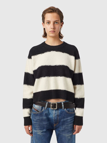 Striped pullover in reverse knit