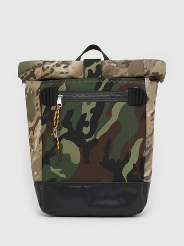Roll-top backpack with camo prints