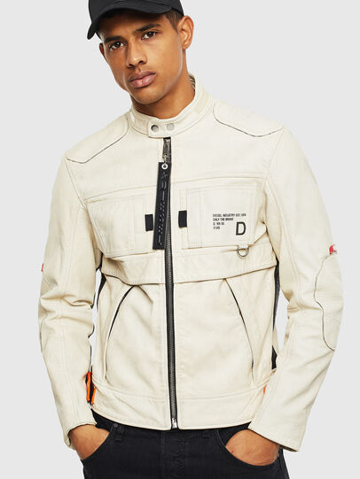 Diesel - L-DIXON, White - Leather jackets - Image 1