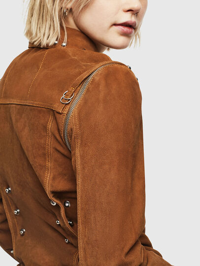 Diesel - L-TAHALI, Brown - Leather jackets - Image 3