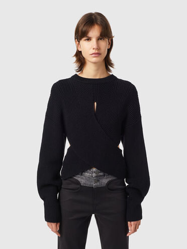 Wrap-effect cutout pullover
