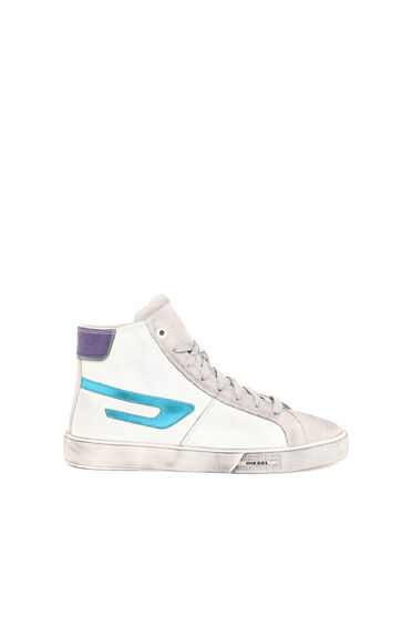 Distressed high-top sneakers in leather