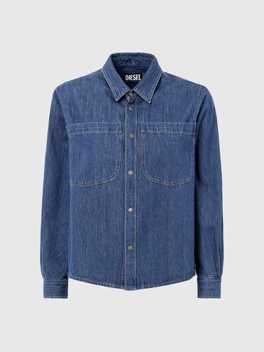 Denim shirt with back draping