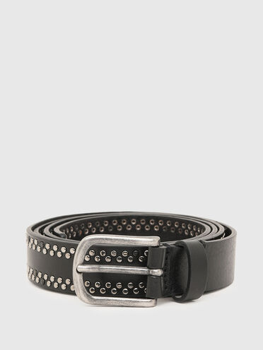 Leather belt with studded edge