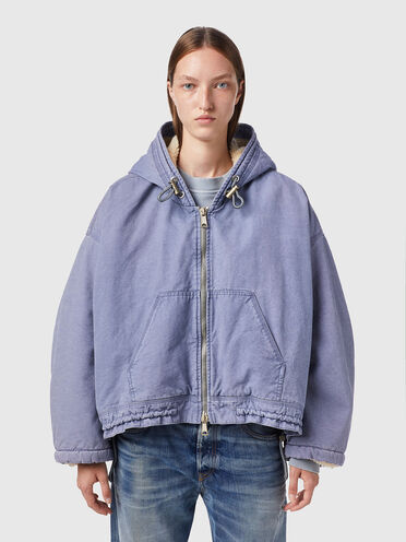 Reversible jacket in canvas and teddy