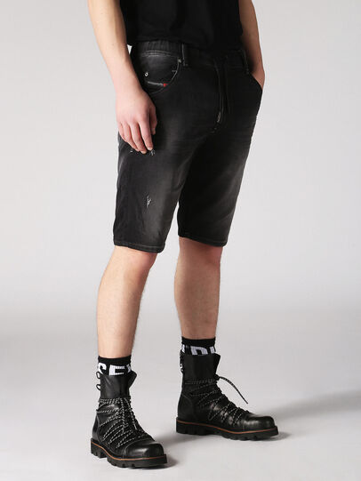 Diesel - KROOSHORT JOGGJEANS, Dark Grey - Shorts - Image 3