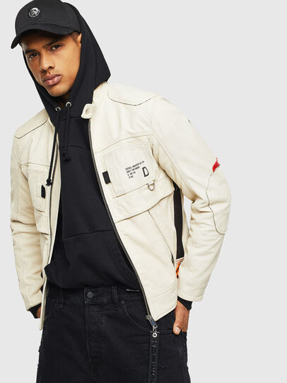 Diesel - L-DIXON, White - Leather jackets - Image 4