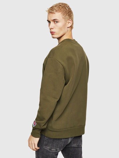 Diesel - S-CREW-DIVISION-D, Military Green - Sweatshirts - Image 2