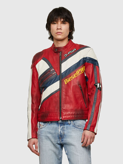 Diesel - L-POWER, White/Red - Leather jackets - Image 1