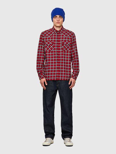 Diesel - S-EAST-LONG-CHK-B, Rojo/Negro - Camisas - Image 4