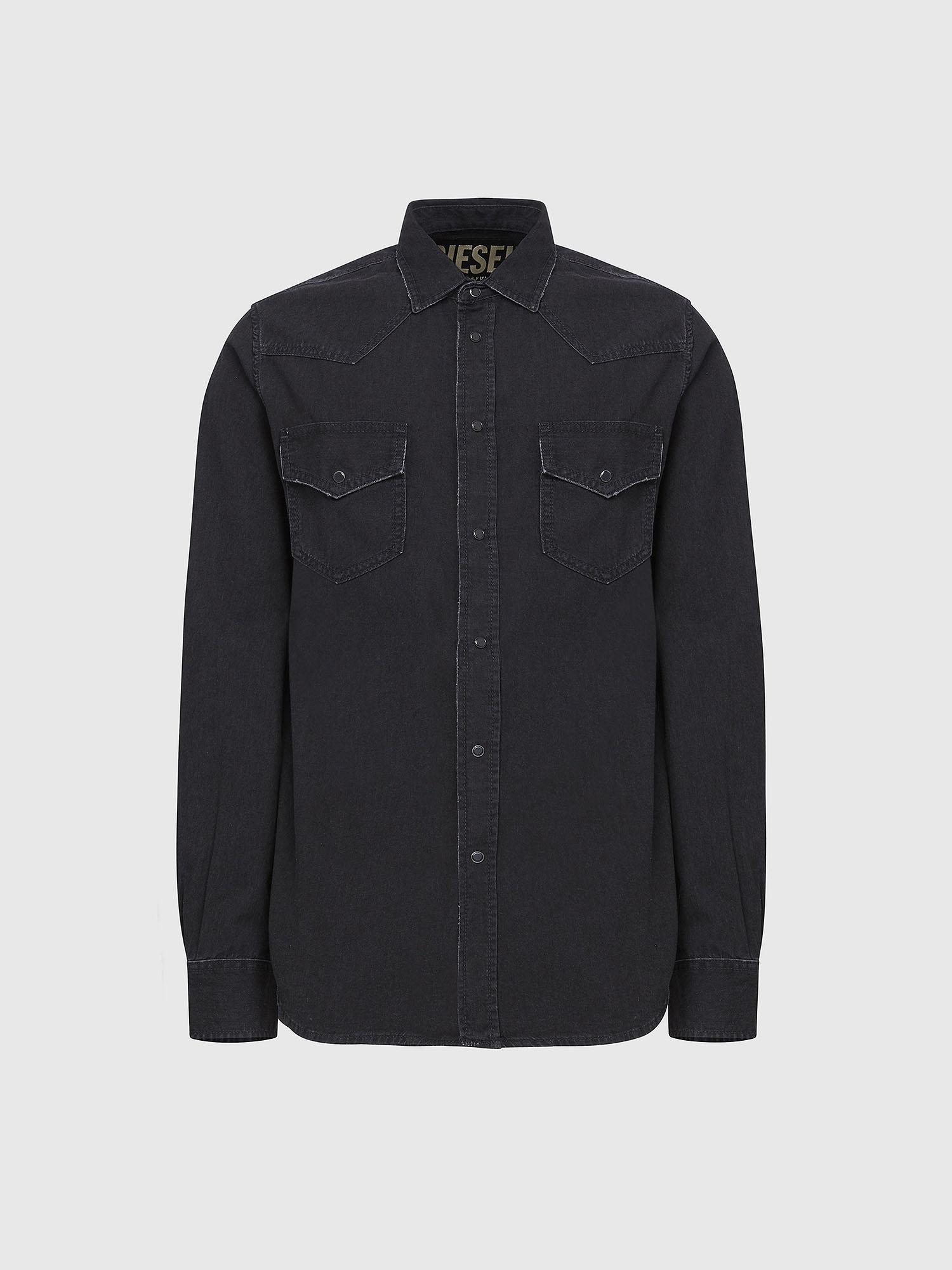 Diesel Denim Shirts 0AAUR - Black - L